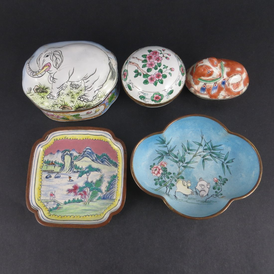 Five Chinese Qing Dynasty Cloisonne Pieces