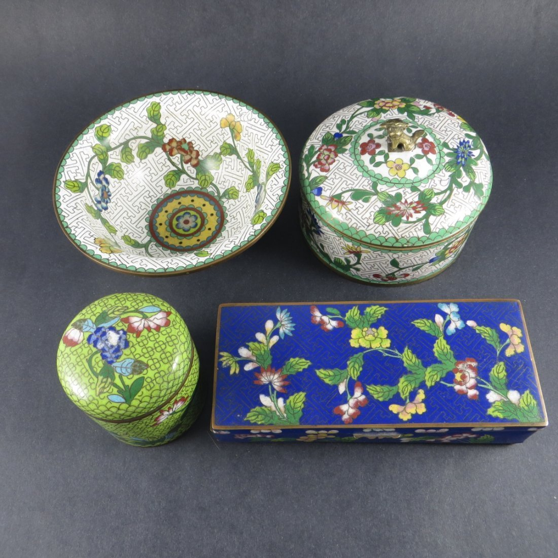 Four Chinese Qing Dynasty Cloisonne Pieces
