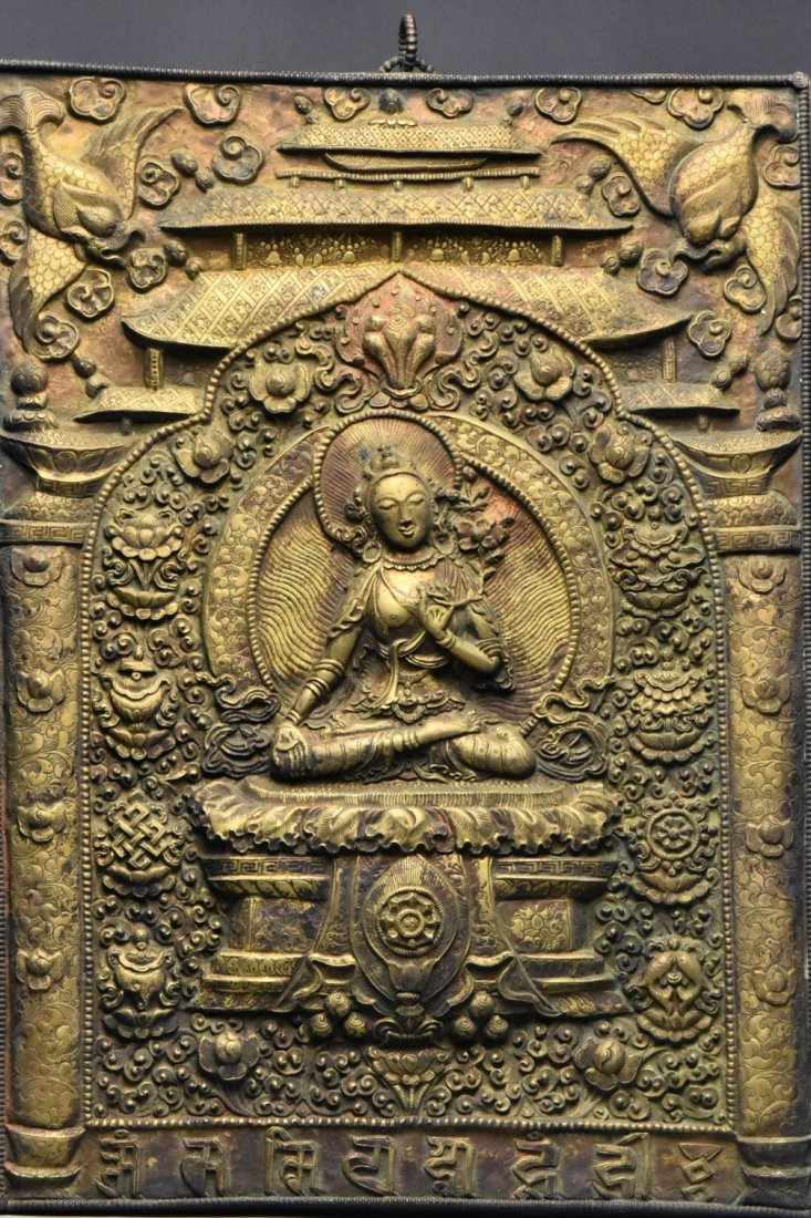 Chinese Tibet Gilt Bronze Panel