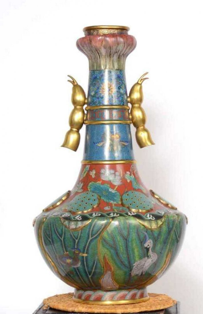Chinese Qing Dynasty Cloisonne Vase - 2