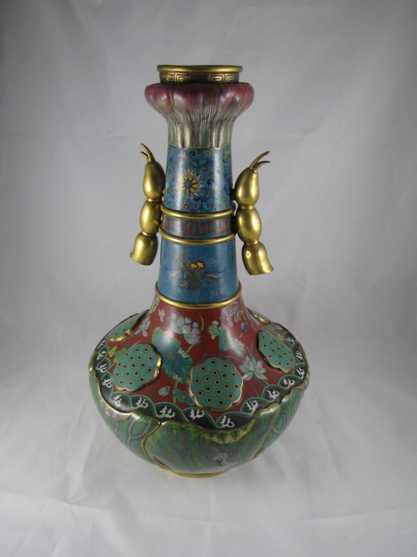 Chinese Qing Dynasty Cloisonne Vase - 5