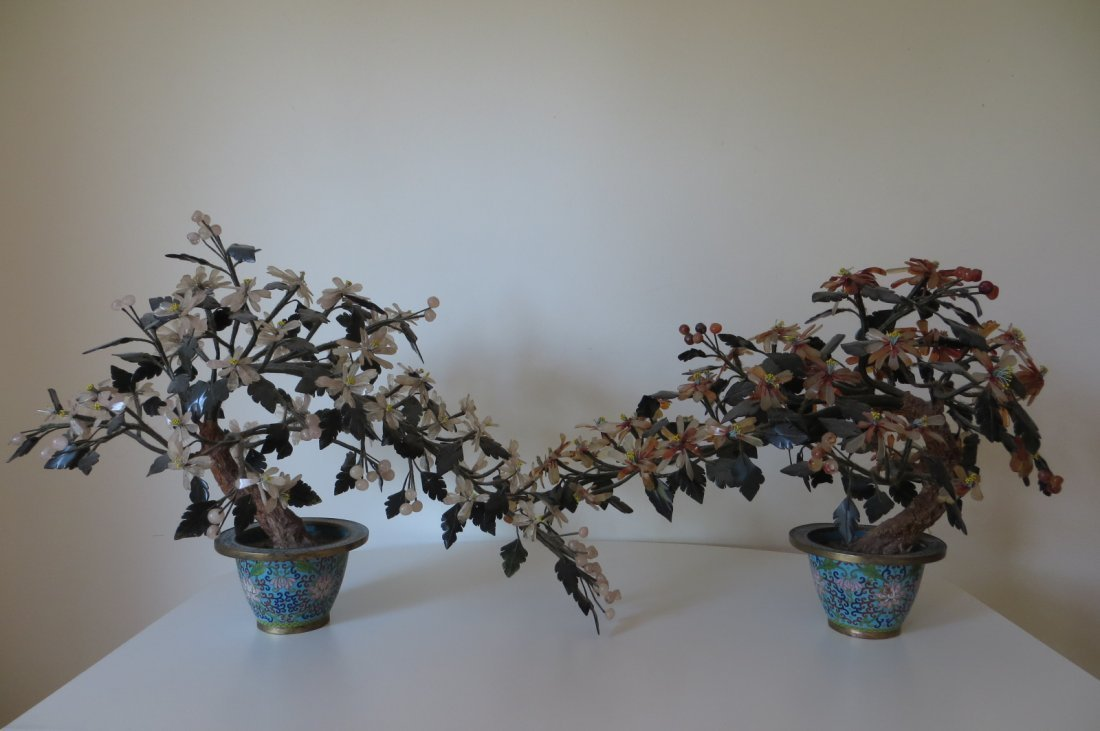 Pair Chinese Qing Dynasty Cloisonne Bonsai