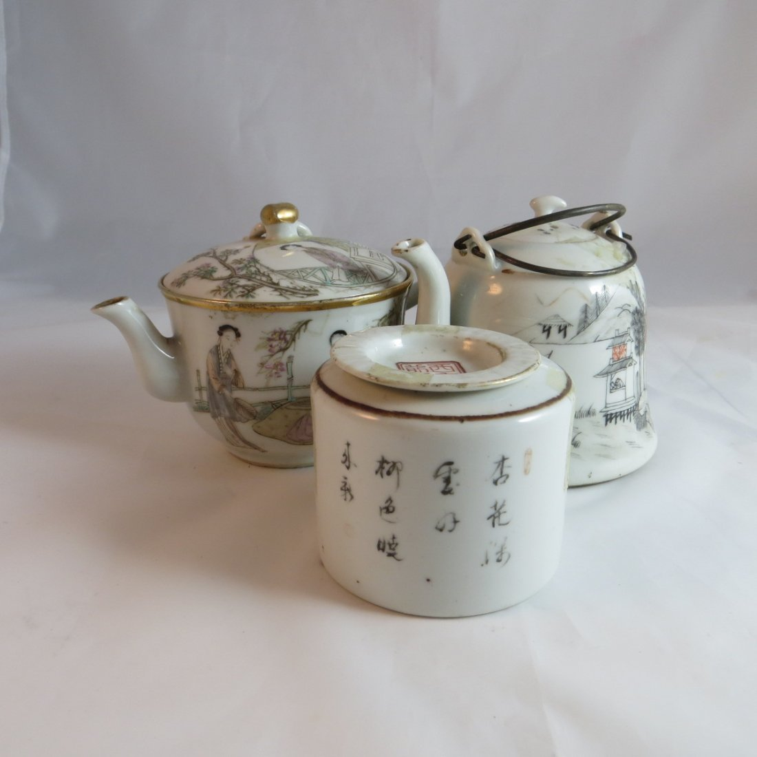 Three Chinese Famille Rose Tea Pots and Caddy