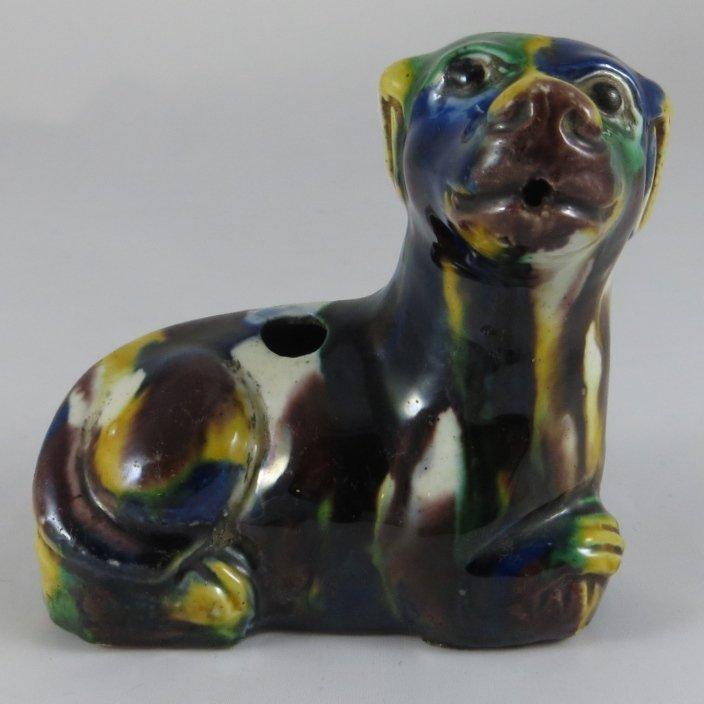 A Chinese Qing Dynasty Sancai Porcelain Dog