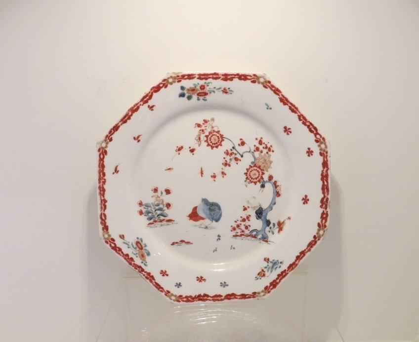 Rare Octagonal Bow China Works Porcelain Plate