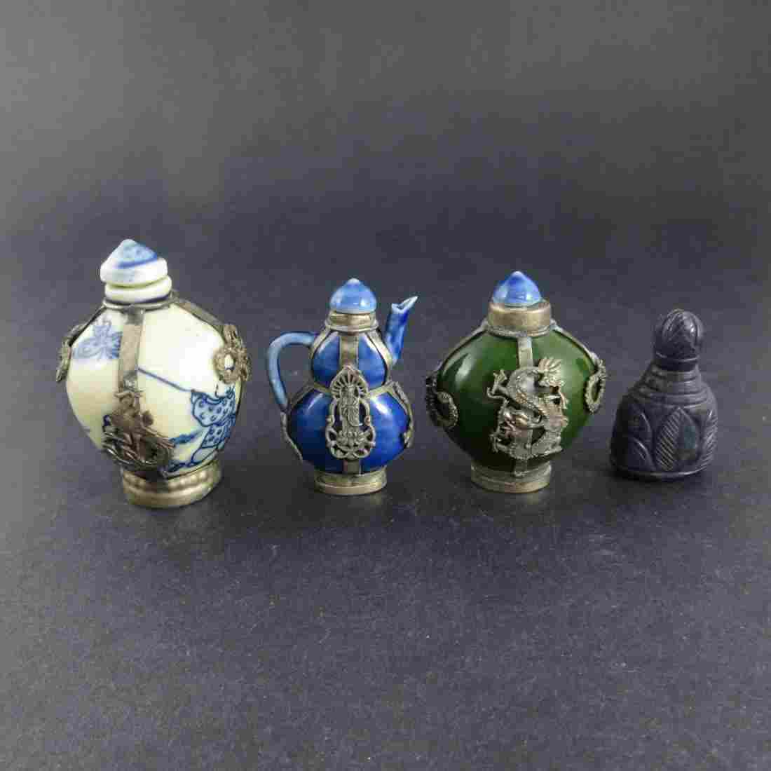 Four Chinese Qing Dynasty Snuffbottles