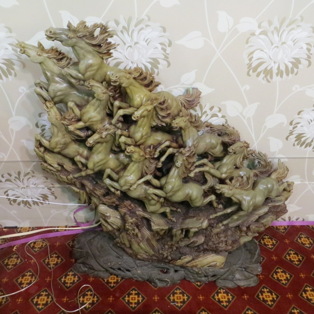 Chinese Jade Sculpture of Horses Group