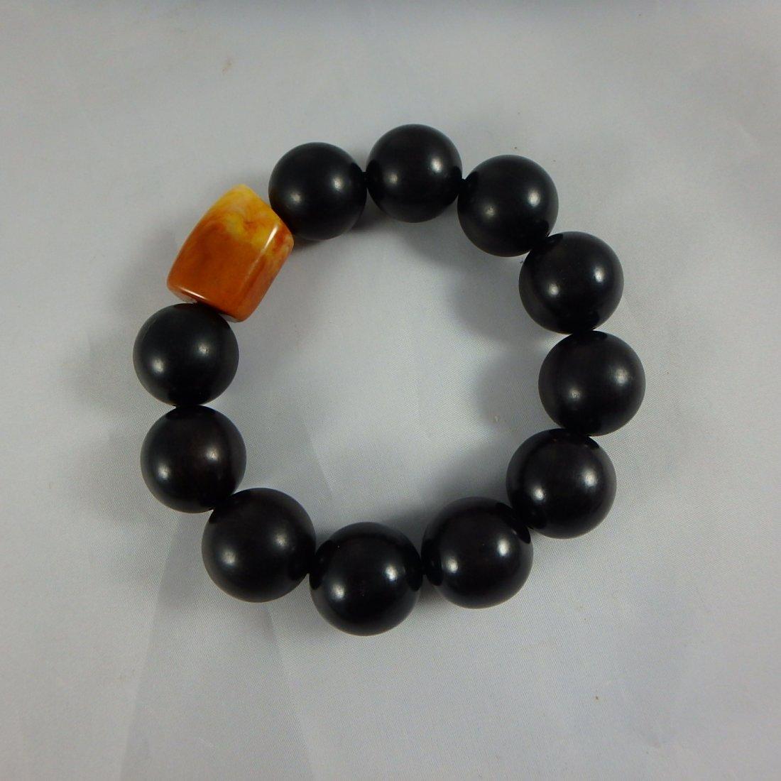 Chinese Wood/Amber Bracelet