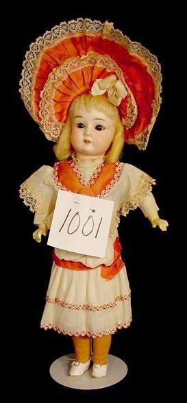1001: Bisque Head Doll Marked  SPBH 0 1/2 NR