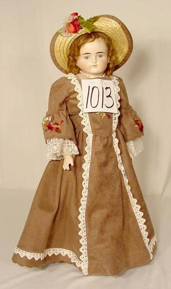 1013: Unmarked Turned Bisque Head Doll NR