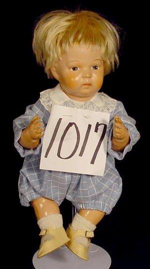 1017: Wooden Head Doll Marked Schoenhut NR