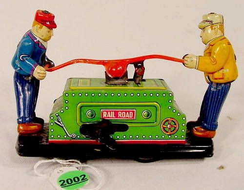 2002: Tin Litho Wind Up Railroad Handcar Toy NR