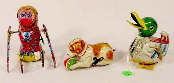 2004: 3 Tin Litho Key wind Animal Toys  NR