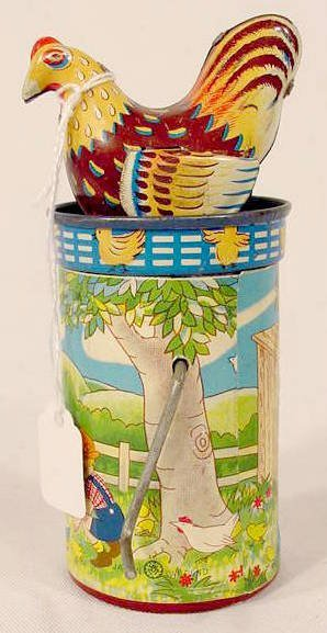 2010: Tin Litho Paper Covered Wind Up Chicken:NR