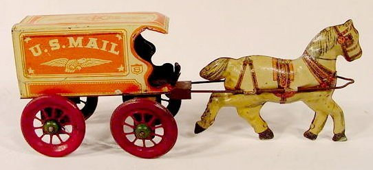 2017: U.S. Mail Tin Litho Horses and Cart Toy NR