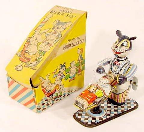 2021: Tin Litho Key Wind Animal Barber Shop Toy NR