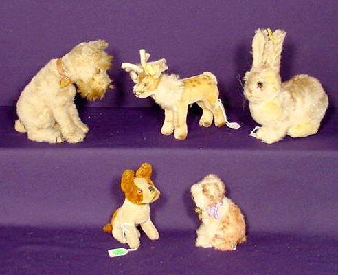 2287: 5 Steiff Stuffed Animal Toys