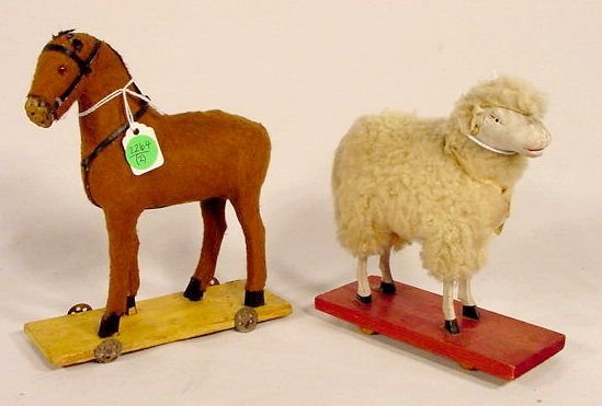 2264: Two Victorian Wood and Cloth Animals on Wheels NR