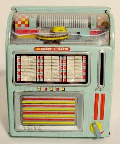1302: Tin Litho Juke Box Bank NR