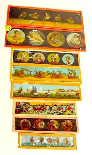 1304: 8 Colored Pictorial Slides for Magic Lantern NR