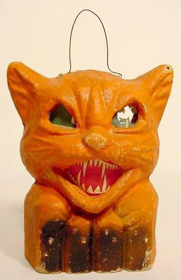 1307: 2 Halloween Items: Cat Lantern & Clanger NR