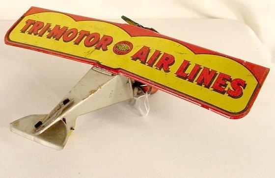 1316: Toy Girard Tin Litho Air Mail Airplane NR