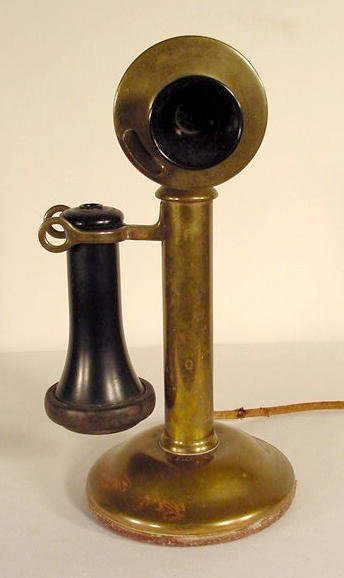 1317: Brass Western Electric Stick Telephone NR