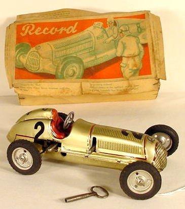 "1318: Toy ""Record"" Tin Litho Race Car NR"