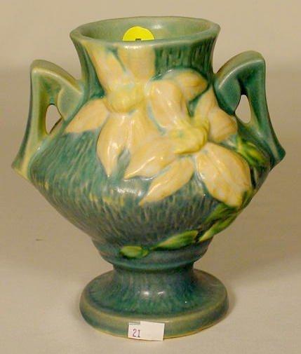 """5: Roseville Pottery 188-6 """"Clematis"""" Vase NR"""