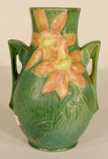 """14: Roseville Pottery 108-8 """"Clematis"""" Vase NR"""