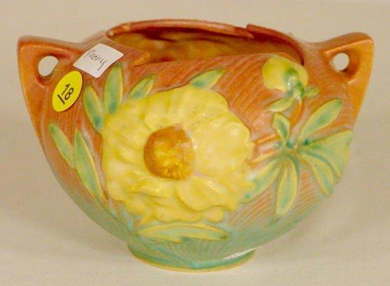 """18: Roseville Pottery 427-4 """"Peony"""" Vase NR"""