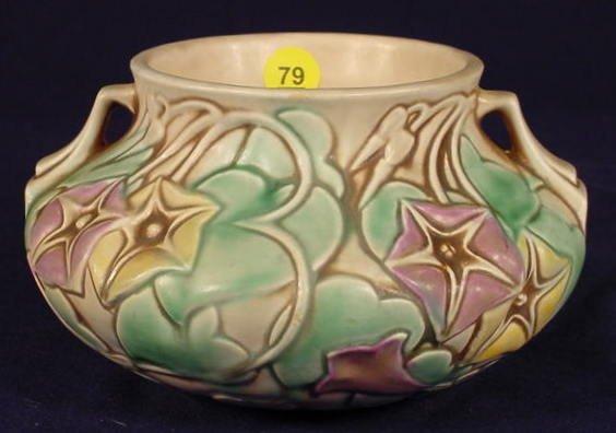 """79: Roseville 268-4 """"Morning Glory"""" Pottery Vase NR"""