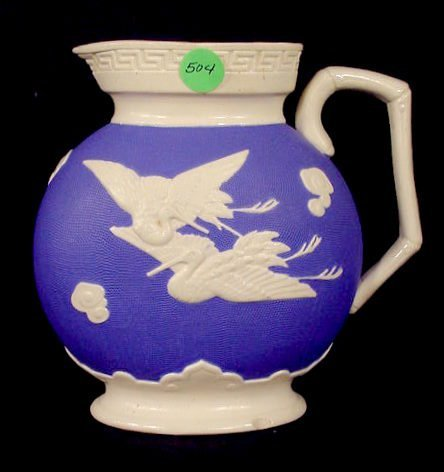 504: English Oval Cranes Parian Pitcher NR