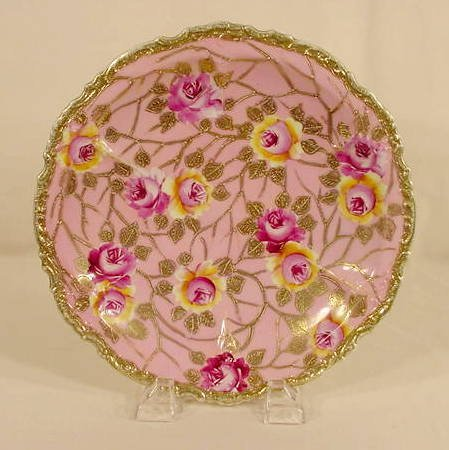 505: Hand Painted Nippon Roses & Gilded Plate NR
