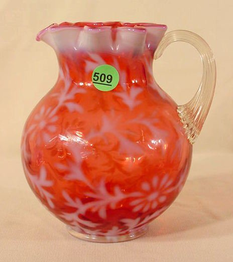 509: Cranberry Opalescent Glass Pitcher NR