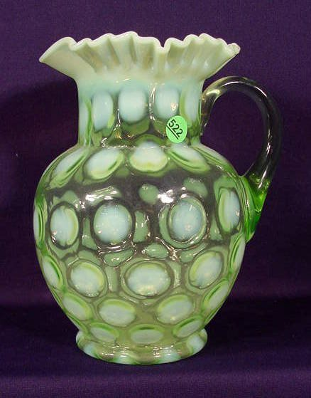 522: Green Opalescent Thumbprint Water Pitcher NR