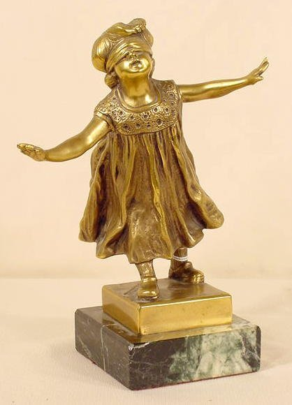 700: G. Ferrari Bronze Statue of Blindfolded Girl NR