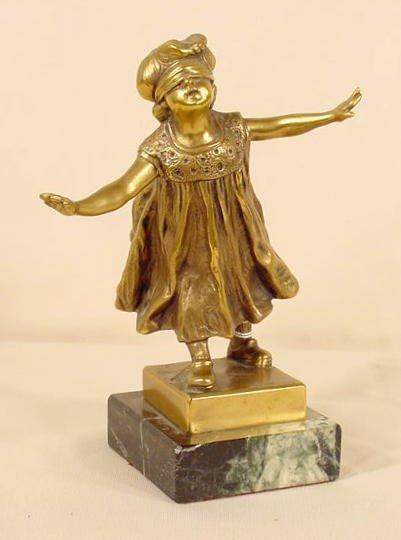 700: G. Ferrari Bronze Statue of Blindfolded Girl NR - 2