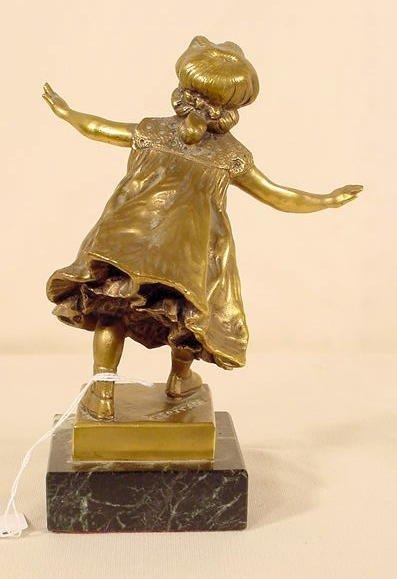 700: G. Ferrari Bronze Statue of Blindfolded Girl NR - 3