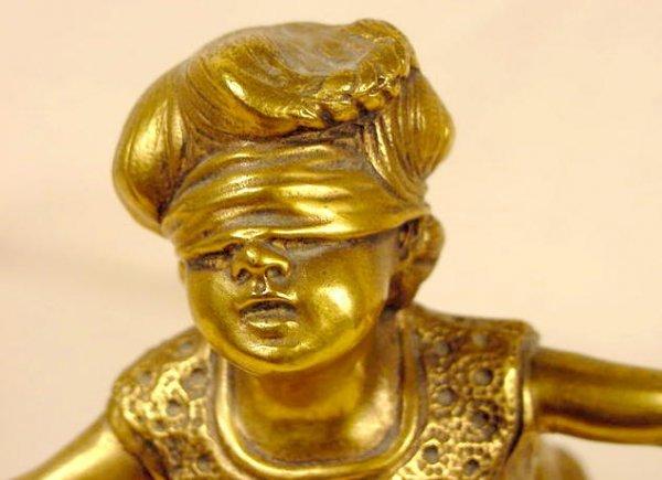 700: G. Ferrari Bronze Statue of Blindfolded Girl NR - 4