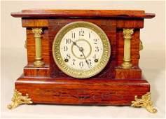 2053: Seth Thomas Lion Heads & Columns Mantle Clock NR