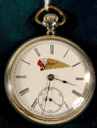 2129: Elgin Indian Motorcycle Adv. Pocket Watch NR