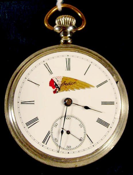 2129: Elgin Indian Motorcycle Adv. Pocket Watch NR - 2