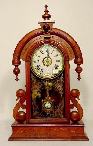 "2018: Welch ""Parisian""  Walnut Teardrop Parlor Clock NR"