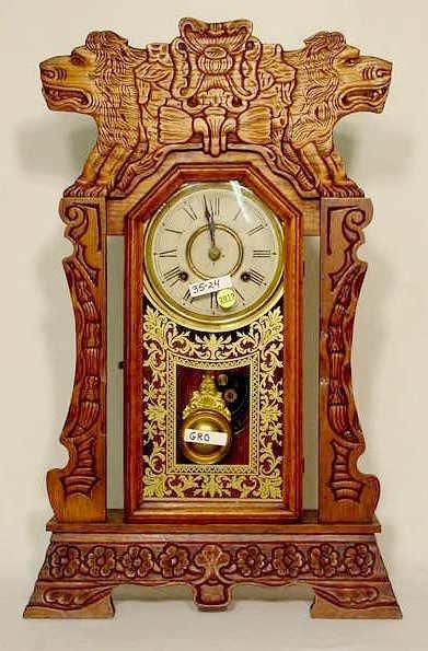 2019: New Haven Oak Lion Shelf Clock NR