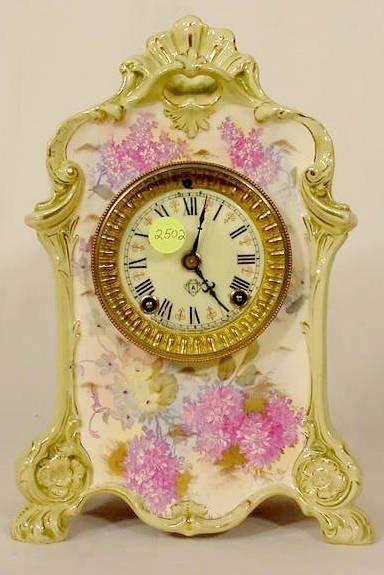 2502: Ansonia La Forge Royal Bonn China Case Clock NR
