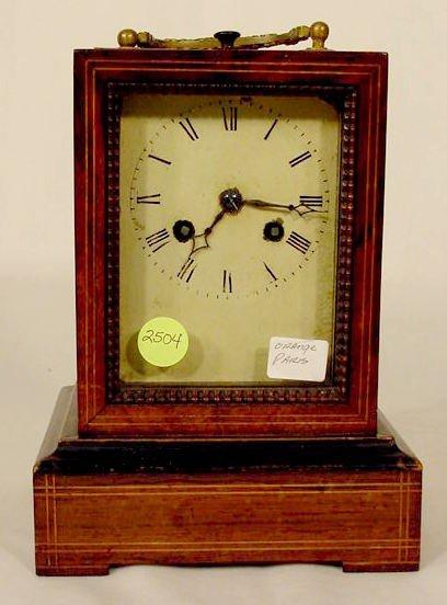 2504: Orange Paris Wooden Table Clock NR