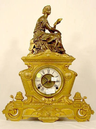 2505: Ansonia Romance Metal Statue Clock NR