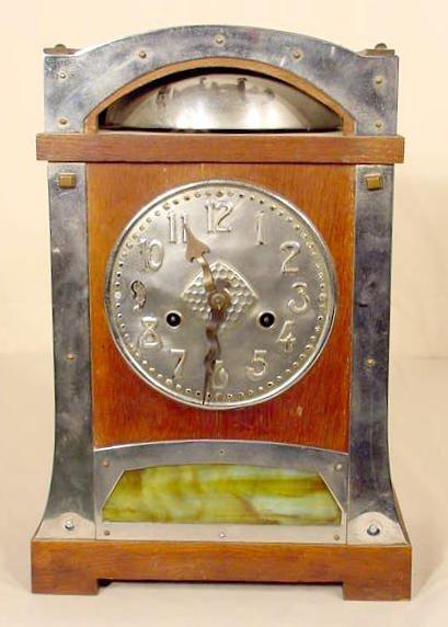 2507: Arts & Crafts Slag Glass & Oak Shelf Clock NR