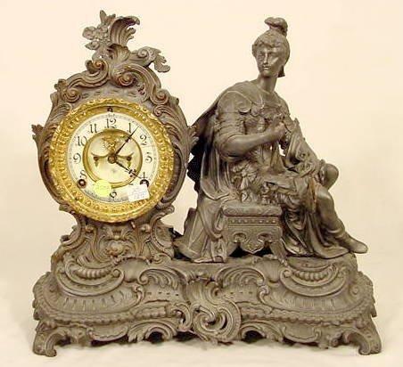 2508: Ansonia Knight Metal Statue Clock NR